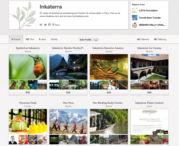 The Inkaterra Pinterst Profile