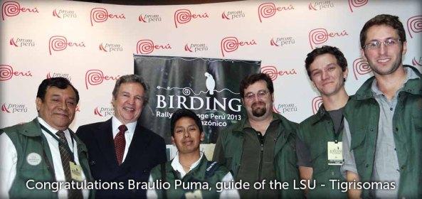 Congratulations Braulio Puma, guide of the LSU, Tigrisomas